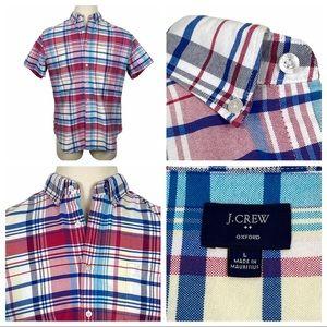 ExcCond J.Crew Plaid Oxford Short Sleeve Shirt Lg